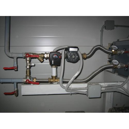 Монтаж водяного канального нагревателя с узлом обвязки